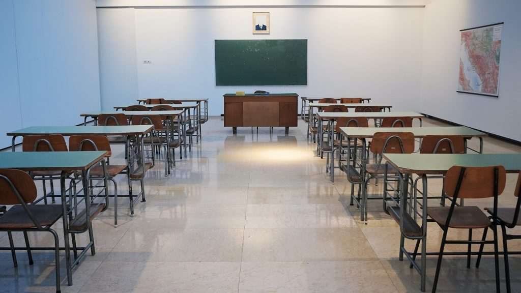 clean empty classroom with airpurifier